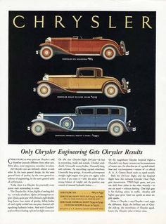 CHRYSLER Car Ad - 1931 - 1932 - Coupe - Roadster - Imperial Sedan