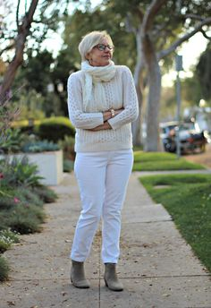 cable knit sweater, white jeans, ankle boots