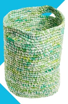 I want to figure out how to make this laundry basket. It's crocheted entirely from upcycled, reclaimed plastic bags. Currently available at Nordstrom.com