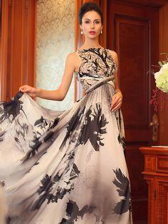 Formal Evening Dress Princess Bateau Floor-length Silk Dress - GBP £131.39