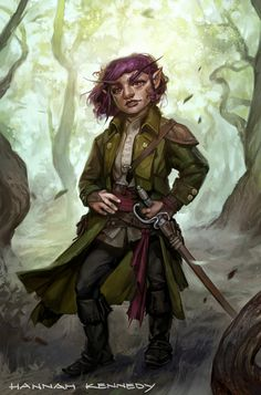 f Gnome Rogue Thief Leather Armor Cloak Sword deciduous forest hills farmland underdark Ortimai by Hannah Kennedy med Dungeons And Dragons Art, Dungeons And Dragons Characters, Dnd Characters, Fantasy Characters, The Elder Scrolls, Fantasy Heroes, Fantasy Rpg, Fantasy Inspiration, Character Inspiration