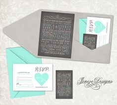Wedding Invitation  Pocket Fold by Jeneze on Etsy, $35.00