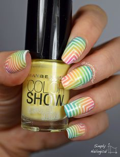Simply Nailogical: Bleached neon corner gradient with white directional right angles WOW!! Must try this.