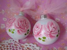 Set of Two Hand Painted Glass Aqua Pink Ornaments by pinkrose1611, $16.00