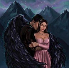 Demon Stories, Fantasy Love, Fantasy Art, Fantasy Female Warrior, Book Characters, Fictional Characters, Black Wings, Fox Art, Love Island