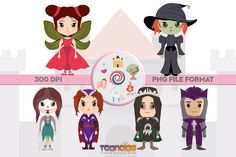 Amazing Unique Fantasy Characters, great for all your creative needs such as scrapbooking, birthday cards, art prints, social media avatars and other creative ideas. ✮ Fantasy Clipart Set 4 ✮ You will receive: Witch Clipart, Fairy Clipart, Fantasy Characters, Disney Characters, Fictional Characters, Dark Queen, Minnie Mouse, Clip Art