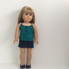 Denim Mini Skirt and Halter Top for AG or similar 18 by Attire18