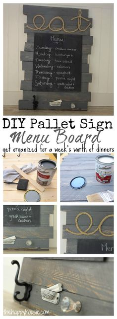 Get yourself organized for a week's worth of meals with this DIY Pallet Sign Menu Board