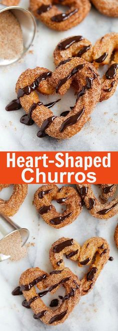 Easy Churros - fail-proof homemade churro recipe that you can make every day Drizzled with chocolate sauce and into heart shapes, so good | rasamalaysia.com