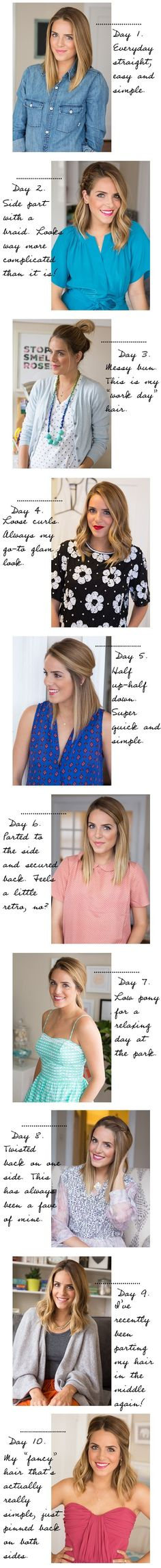 From one day to another, 10 different everyday hairstyle looks. Try it out!