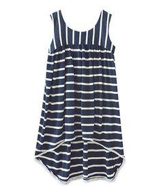 Love this Navy Stripe Ellie Hi-Low Dress - Infant, Toddler & Girls on #zulily! #zulilyfinds