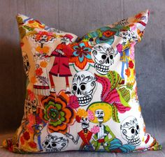 Sugar Skull collection Day of the Dead by LindsayAnnRodriguez, $35.............with bold color accent and maybe some gold or silver finishes. Black furniture?