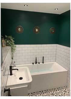 Dark Green Bathrooms, White Bathroom, Bathroom Green, Small Dark Bathroom, Bathroom Modern, Bathroom Design Small, Bathroom Interior Design, Upstairs Bathrooms, Downstairs Loo