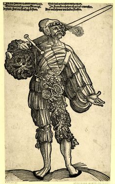 Landsknecht Doppelsoldner; deceptive copy after Schön (H 116); WL figure, frontal view, his sword placed over his r shoulder; wearing a cap with a peacock feather.  Woodcut and letterpress  1525-1580  item number: AN61224001  British Museum