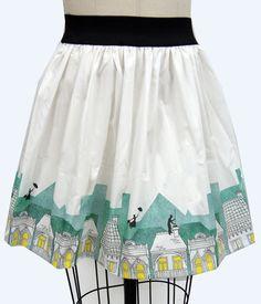 Spoonful of Sugar Border Print Full Skirt via Go Follow Rabbits on Etsy $45.99