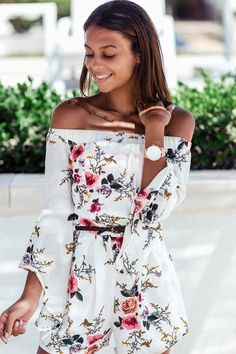 Sexy off shoulder romper from Yoins. In a floral print and flared sleeves. Just pair it with sandals will be perfect.