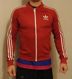 RED Adidas USSR CCCP vintage Soviet Union Russia track suit