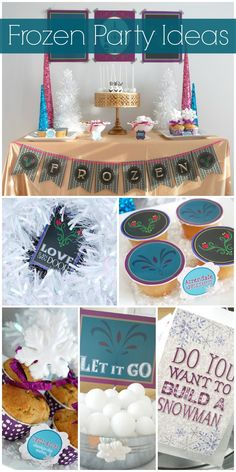Here's a cool take on a traditional Disney Frozen girl birthday party! Love the decorations and printables! See more party ideas at CatchMyParty.com. #disneyfrozen