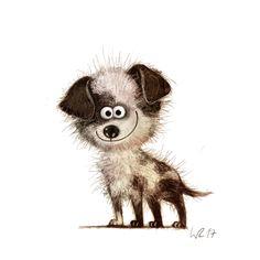 Wiebke Rauers Illustration : Photo Cute Animal Illustration, Cute Animal Drawings, Cartoon Drawings, Cute Drawings, Illustration Art, Cartoon Dog, Children Cartoon, Whimsical Art, Dog Art