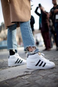 Shoes  adidas superstar adidas superstars high top sneakers white sneakers  frayed denim ripped jeans Girls 7e0c57dce0a