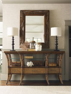The Tommy Bahama Bali Hai Oyster Reef Sideboard features beautiful detail and durable design to add casual elegance to any home. This lovely sideboard. Decor, Furniture, Interior, Home, Tommy Bahama Decor, Colonial Decor, Lexington Furniture, British Colonial Decor, Interior Design