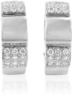 Chanel Petite 18K White Gold Partial Diamond Pave Clip-on Hoop Earrings