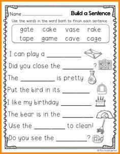 Miss Kindergarten: Super CVCe Practice {that tricky magic e! First Grade Worksheets, School Worksheets, Grammar Worksheets, Kindergarten Worksheets, Long Vowel Worksheets, Summer Worksheets, Miss Kindergarten, Kindergarten Writing, Teaching Reading