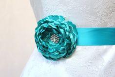 Teal Flower Wedding Ribbon Sash/  Handmade Accessory/ Free Shipping on Additional Items. $22.00, via Etsy.