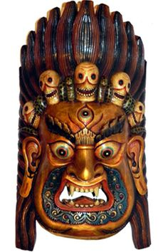 """Large Tibetan Gold Mahakala Mask 35"""" Item #7n11  Price: $925.00"""