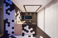 Apartments: Plasterlina Creative Wall Tiling Black White Geometric Flooring White Wooden Paneling Wooden Countertop Kitchen Island: Lofted Opulence