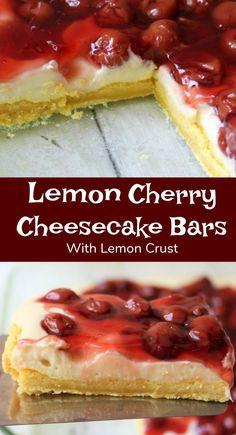 Lemon Cherry Cheesecake with Lemon Crust an easy recipe dessert with cream cheese, lemon cake mix and cherries. #cherry #cheesecake #creamcheese #bars