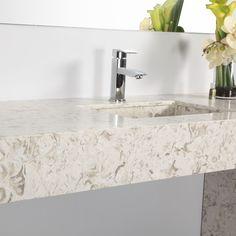 Seashell quartz idea for bathrooms Bathroom Renos, Master Bathroom, Bathrooms, Bathroom Ideas, Quartz Slab, Quartz Countertops, Master Bath Remodel, New Kitchen, Kitchen Ideas
