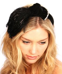 Loving this Black Velvet Feathered Bow Headband on #zulily! #zulilyfinds