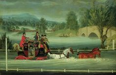 A Royal Mail Coach on a flooded road, James Pollard