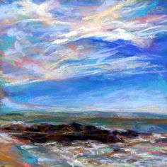 DEL'S SHORELINE - 4 1/2 x 4 1/2 pastel sold by TIRAGE GALLERY, painting by artist Susan Roden