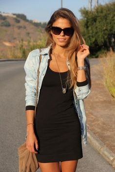 Small black dress, chocolate bag and blue shirt street style