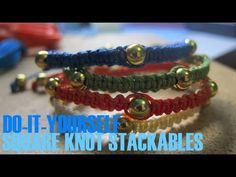 DIY: Square Knot Stackable Beaded Bracelets - YouTube