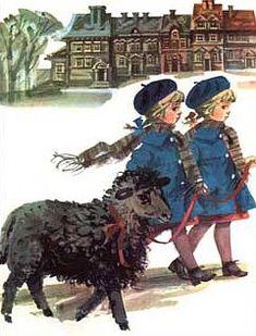 czarna owca i dziewczynki Moose Art, Animals, Fictional Characters, Animales, Animaux, Animal, Animais, Fantasy Characters