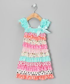 Take a look at this Aqua & Pink Ruffle Cap-Sleeve Dress - Infant, Toddler & Girls on zulily today!