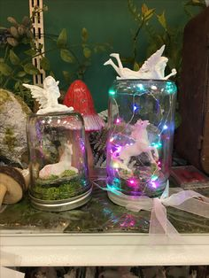 Firefly lights and unicorns in a mason jar cloche with fairy topper--Salem Craft Warehouse