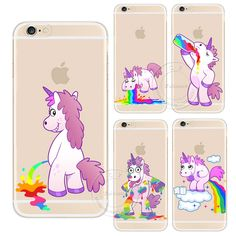 For Apple iPhone 4 4S 5 5S SE 5C 6 6S 6 Plus 6SPlus Cute Hippo Rainbow Unicorn Horse Clear Plastic Case Back Cover
