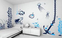 What an awesome kids room idea...under the sea!