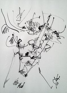 Yves Grandjean artiste peintre et sculpteur. Oeuvre encre.