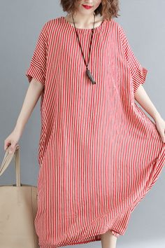 d0c74c9318 Women o neck linen Robes Omychic Catwalk red striped daily Dress summer