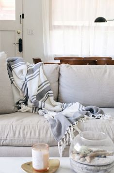 minimalist living room with linen sofa via @citysage