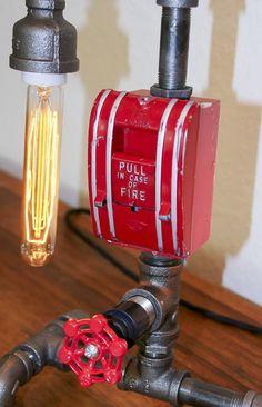 Reclaim, Reverse, Resurrect: Fire Sprinkler Lamp Front View Photograph