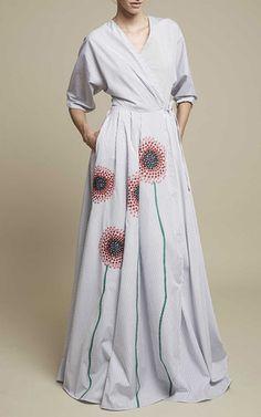 Striped Poplin Gown by Anna Sammarone for Preorder on Moda Operandi