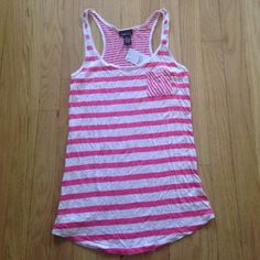 NWT Rue21 Pink&White Striped Tank Top - S NWT Pink & White Striped Rue21 Tank Top - small. Loser fit. Rue 21 Tops Tank Tops