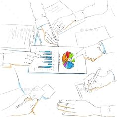Financial Charts Sketch Business People Team Work