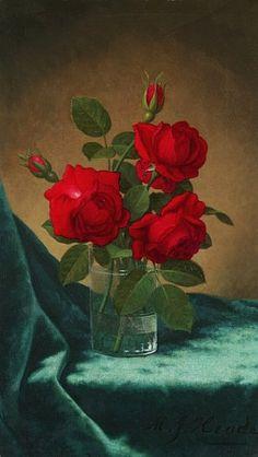 Martin Johnson Heade  Crimson Roses in a Glass  19th century